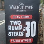 Friday Steak Night, two rump steaks and a bottle of house wine for £30.00